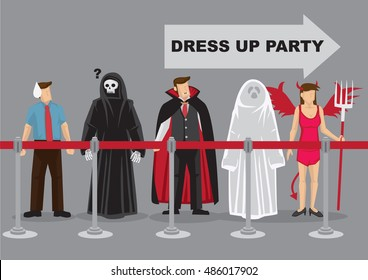 People in fancy costumes as different characters waiting in behind queue barrier for dress up party, Vector cartoon illustration for fancy dress party isolated on grey background.