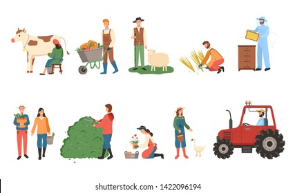 People farming vector, man and woman with basket and fruits, carriage with pumpkins, male with sheep and farmer lady with cow, tractor machinery set