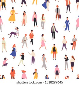People in fashionable clothes flat vector seamless pattern. Models outdoor photoshoot background, backdrop. Fashion photographer and stylish women characters wrapping paper, textile, wallpaper design.