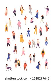 People in fashionable clothes flat vector illustrations set. Stylish male and female models isolated design elements on white background. Fashion photographer, modern girls characters collection.