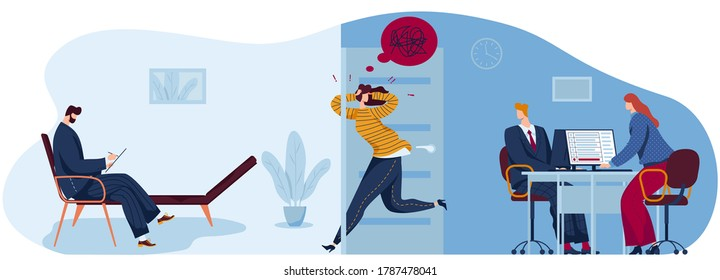 People in fear panic flat concept vector illustration. Cartoon panicking stressed woman character running to psychotherapist office for mental psychological help, work stress problem isolated on white