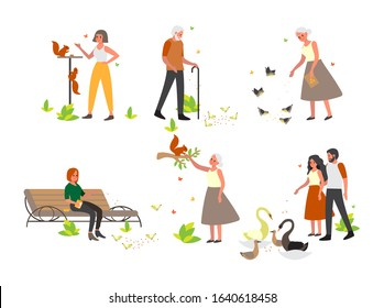 People feeding bird and animal in tha park set. Retired woman and man feed pigeon. People feed squirel and swan in park. Leisure activity. Isolated flat vector illustration