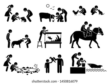 People feeding and interacting with domestic animals. Stick figure illustrations depict children feeding rabbit, sheep, chicken, fish, and dolphin. The boy also playing with cat, dog, horse, and bird.