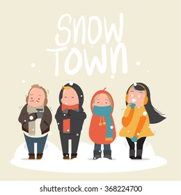 People feeling freeze in snow town - cold, winter - Vector illustration
