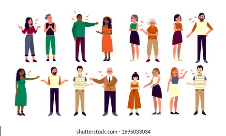 People fighting and arguing set. Collection of man and woman quarreling with each other. Sad and angry character. Isolated vector illustration in flat style