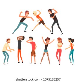 People fighting and quarreling. Aggressive and violent behavior. Negative emotions. Young guys and girls. Flat vector design