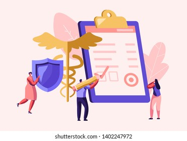 People Fill Health Form Insurance Policy Document. Woman Holding Protective Shield. Caduceus Symbol. Signing Insurance for Health Medical Protection for Life Guarantee Cartoon Flat Vector Illustration