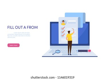 People fill out a form. Online application. Cartoon miniature  illustration vector graphic on white background. Web banner.