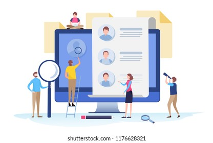 People fill out a form. Online application. survey, interview, job. Cartoon miniature  illustration vector graphic on white background.