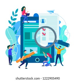 People fill out an online application form, a job application form, online resume filling, online testing, visa and online concept tax return filling. Vector illustration.