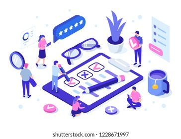 People fill out a questionnaire form. Can use for web banner, infographics, hero images. Flat isometric vector illustration isolated on white background.