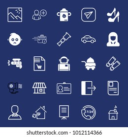 People filled and outline vector icon set on navy background