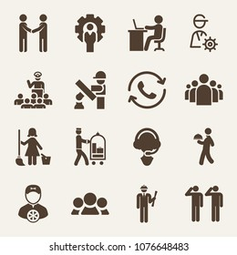 People filled vector icon set on wood color background such as engineer, group of people in a formation, working with laptop, human resources, cleaning lady, recruits, general