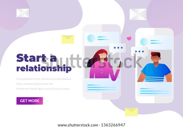 People Find Love Trough Dating Apps Stock Vector (Royalty