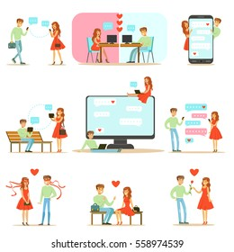 People Finding Love And Dating Using Dating Web Sites And App On Smartphones And Computers Infographic Illustration