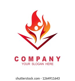 People fire logo, fitness sports icon