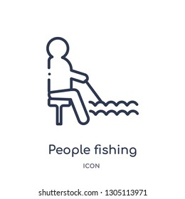people fishing icon from recreational games outline collection. Thin line people fishing icon isolated on white background.