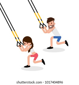 People fitness exercise flat design, vector.