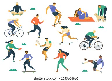 People flat fitness set with young women and men sport activities isolated vector illustration.