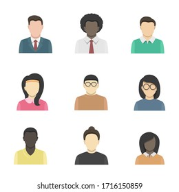 People flat icon collection, business man profile concept.