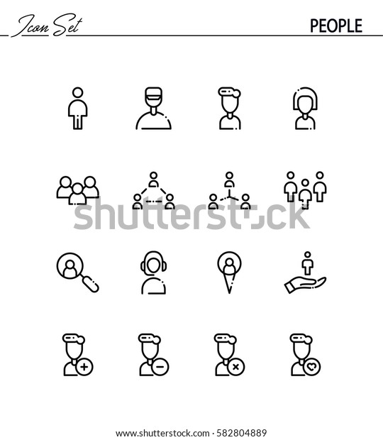 People flat icon set. Collection of high quality outline symbols for web design, mobile app. People vector thin line icons or logo.