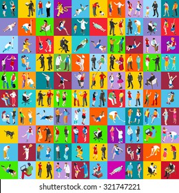People Flat Icons Set: Vector Illustration Graphic Design. Collection Of Colorful Icons. For Web Websites Print Presentation Templates Mobile Applications And Promotional Materials EPS JPG JPEG AI 10