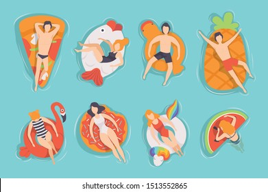 People floating on air mattresses in swimming pool set, top view, men and women relaxing and sunbathing on inflatable rings of different shapes vector Illustrations