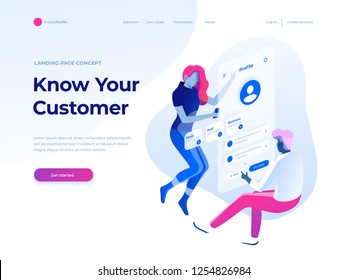 People fly and build a customer profile in a mobile application. Data analysis and office situations. Isometric vector illustration. Landing page concept.