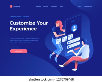 People fly and build a customer profile in a mobile application on the dark blue backgroung. Data analysis and office situations. Isometric vector illustration. Landing page concept.
