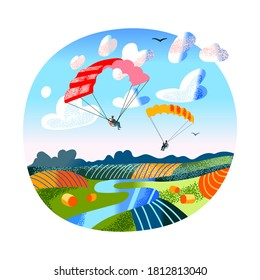 People fly on paragliders over fields and river landscape. Parachuting paragliding hobby or professional sporting. Extreme sport adventure scene. Vector character illustration of active lifestyle