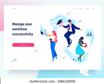 People flying and interacting with graphs and papers. Business and workflow management. Landing page template, vector isometric illustration.