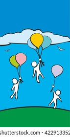 People flying on balloons. Symbol of success. Vector flat drawn design color illustration on blue background