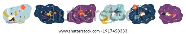 People flying in space vector flat scenes set with planets and stars cartoon cosmic illustration. Characters holding planet with dream universe. Person flies in blue sky space. Abstract style people