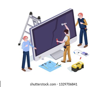 People in the form repair service workers do screen diagnostics and replacement 3d isometric vector illustration design templates.
