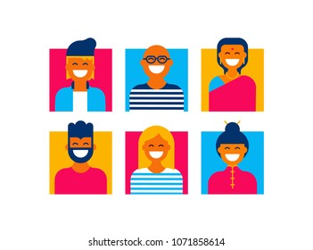 People form the world global teamwork icon set in modern flat style. Collection of diverse men and women group ideal for web avatar, social media or internet project. EPS10 vector.