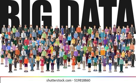 people forming huge crowd, big data conceptual illustration