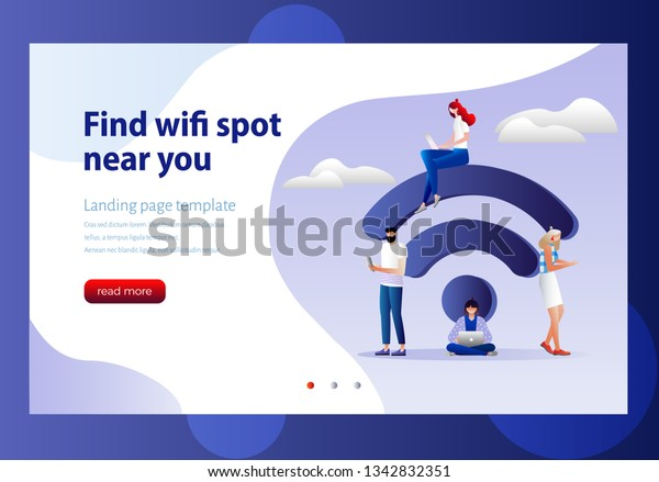 People Free Internet Zone Big Wifi Stock Vector (Royalty Free