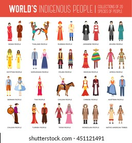 People Friendship. International Day of the World Indigenous Peoples. Vector flat circle concept illustration concept set