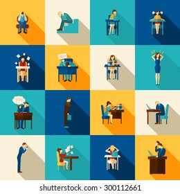 People in frustration overwhelmed with office work icons flat set isolated vector illustration