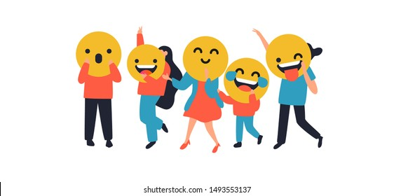 People with funny emoticon face icons on isolated background. Social expression concept includes laugh, smile, tongue wink.