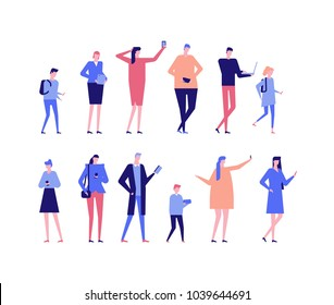 People with gadgets - flat design style set of isolated characters on white background. Cartoon women, men and children using their smartphones, laptops, tablets, ebook readers