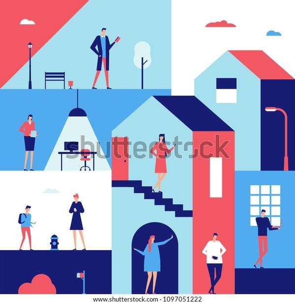 Люди с гаджетами - плоский дизайн стиль иллюстрации. Симпатичные мультяшные персонажи с различными устройствами, компьютерами, планшетами, работой, созданием селфи, проверкой смартфонов, электронной книгой, серфингом в интернете