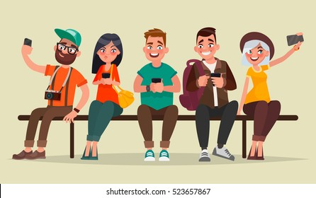 People and gadgets. Group of students sitting on a bench enjoying mobile devices. Vector illustration in cartoon style