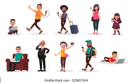 People and gadgets. Set of children, youth and adults with their mobile devices. Vector illustration in cartoon style