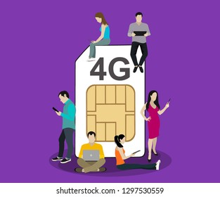 People with gadgets sitting on the big 4G Sim Card. Addicted to networks people concept illustration of young men and women using high speed wireless connection 4G.