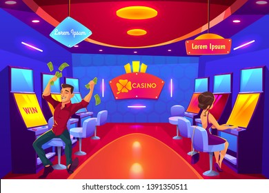 People gambling in casino playing on slot machines, win, loss, spending money. Man gambler addict to spin, girl player, nightlife lifestyle business industry, Las Vegas, Cartoon vector illustration.