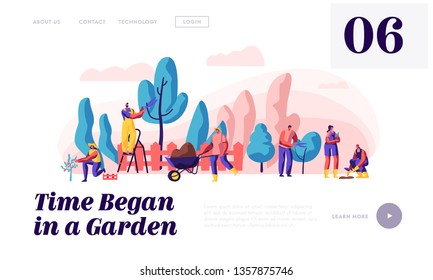 People Gardener and Farmer Work in Garden Landing Page. Man with Scissors and Secateurs Trimming Tree. Woman Harvest Apple. Female Planting Website or Web Page. Flat Cartoon Vector Illustration