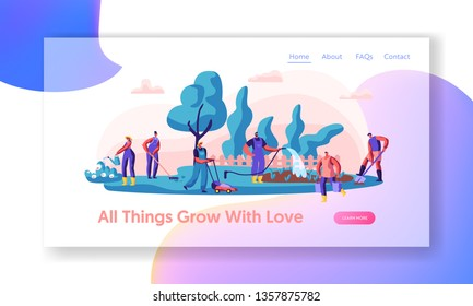 People Gardener Working in Garden Landing Page. Worker Planting and Watering Plants. Woman with Rake. Man Gardening with Lawnmower, Hose, Shovel Website or Web Page. Flat Cartoon Vector Illustration