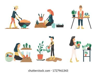 People gardening. Man and Woman planting gardens vegetables, agriculture gardener hobby plants at home and outdoor. Vector is drawn illustrations of plants in pots working.farm Flat vector icon set