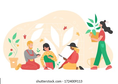 People gardening vector illustration. Cartoon flat man woman group of gardener characters planting flower, fruit tree or houseplant in pot, working in garden. Agricultural hobby isolated on white